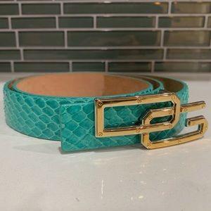 Dolce and Gabbana Teal Snake Belt